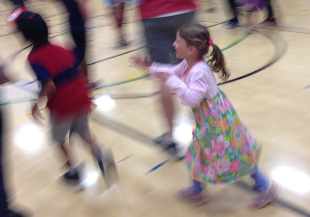 Because she is my child, my daughter spent the entire dance party running in circles around the gym. AS IT SHOULD BE. ;-)